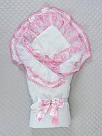 """Одеяло-конверт""""Мария"""" (белый/розовый, поликоттон/бязь, д/с, (90*90)), фото 1"""