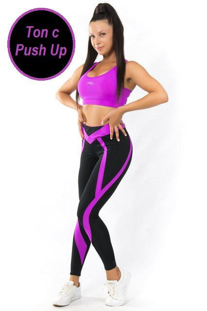 Женский спортивный комплект ПУШ-АП (42-44; 44-46; 46-48) (фуксия) костюм для спорта и фитнеса из бифлекса
