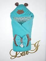 """Одеяло-конверт""""Панда/лапки""""  (ментоловый, велюр/интерлок, д/с, (90*90)), фото 1"""