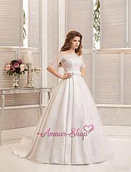 Атласное свадебное платье с болеро, айвори