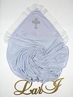 """Пеленка крестильная """"Славяночка"""" (белый, махра/кулир, (85*85), вяз.кружево,вышивка), фото 1"""
