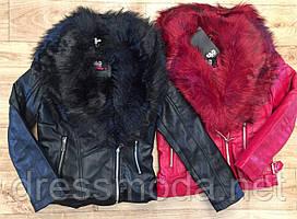 Куртки эко кожа со съемным искуственным мехом для девочек S&D 8-18 лет