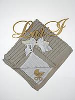 """Покрывало-плед""""Лапушка""""  (серый, вязаное полотно /кулир, лето, (90*90)), фото 1"""
