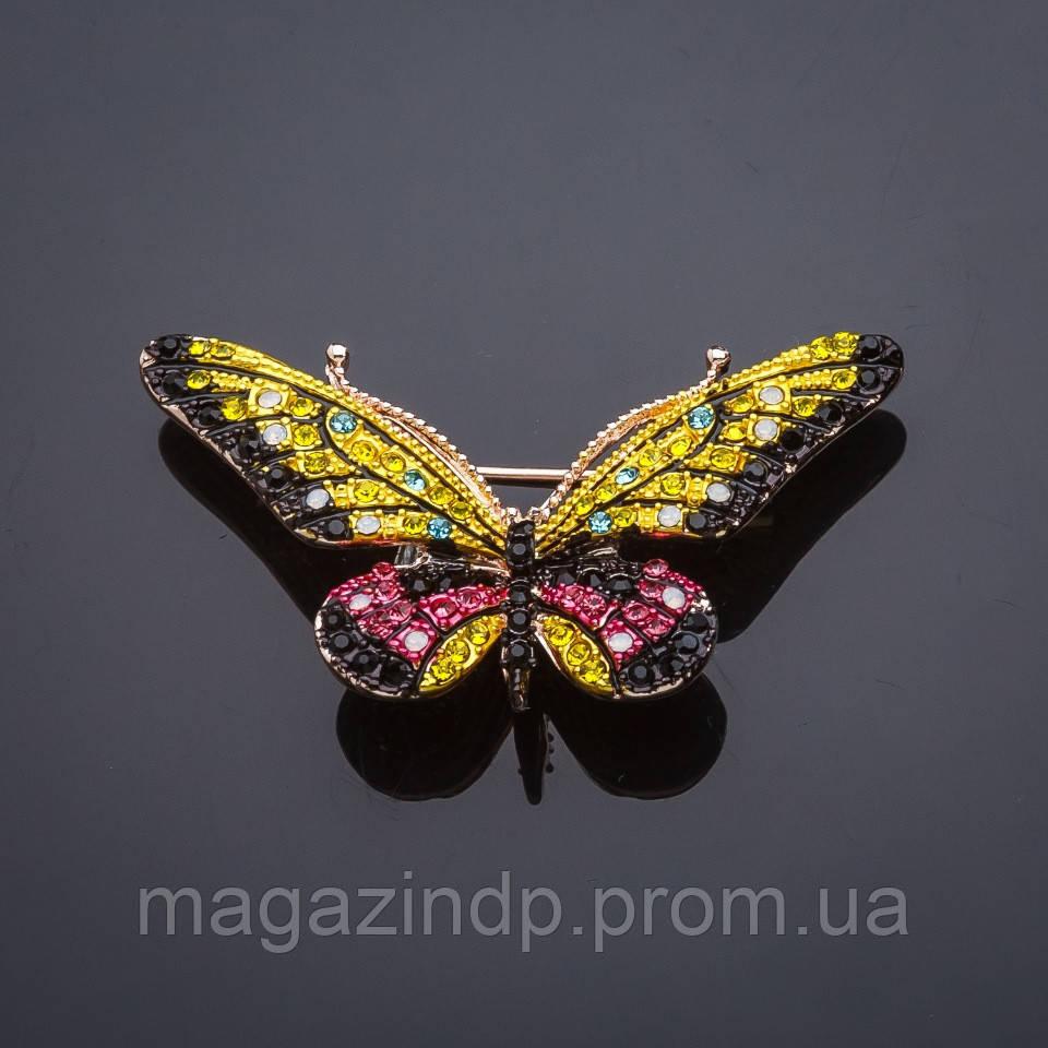 Брошь Бабочка матовая эмаль желто-малиновая Код:719019283