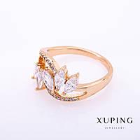 "Кольцо Xuping цвет металла ""золото"" белые камни 3х6мм р-р 16-18 Код:719016989"
