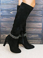 Замшевые сапоги на каблуке с острым носком Anna Lucci, фото 1