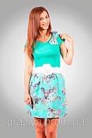 Яркое красивое джинсовое платье с коротким рукавом
