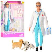Кукла кен ветеринар Defa 8346: чемодан, инструменты, собачка 2шт