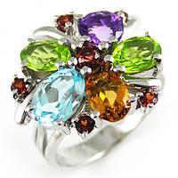 Серебряное кольцо Волшебные цветы с натуральными камнями