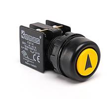 Кнопка управления нажимная с водозащитным кольцом и стрелкой (1но + 1НЗ) желтая