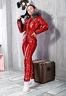 Комбинезон женскийлыжный из стеганной плащевки с капюшоном с опушкой чернобурка (5 цветов) - КрасныйPSL/-010