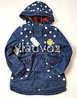 Детская джинсовая парка для девочки тёплая подкладка Smile 10-11 лет