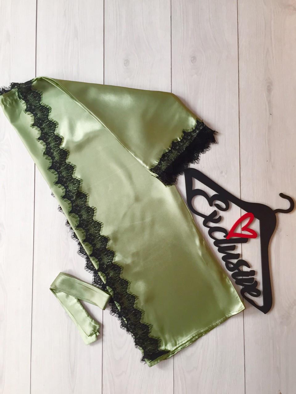Оливковый халат с кружевом, одежда для дома ТМ Exclusive