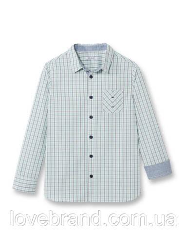 "Рубашка для мальчика ""Бирюза клеточка"" премиум качества Okaidi (Франция) 12 л./152 см"