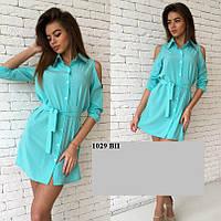 Платье рубашка из штапеля 1029 ВП только белый Код:534667438