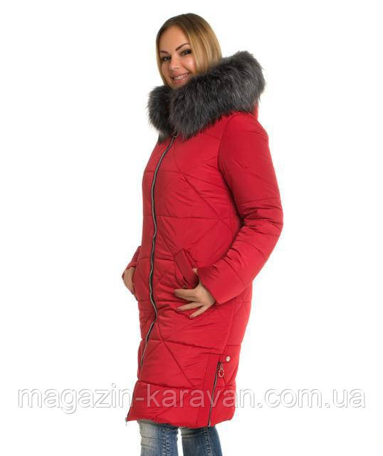 Модный  женский пуховик ЛД 53 Красный мех