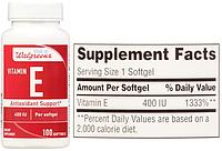 Walgreens, Витамин Е, 400 МЕ, 100 капсул