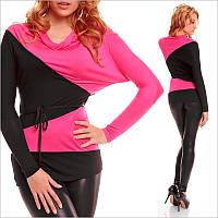 Женская двухцветная кофта с длинным рукавом