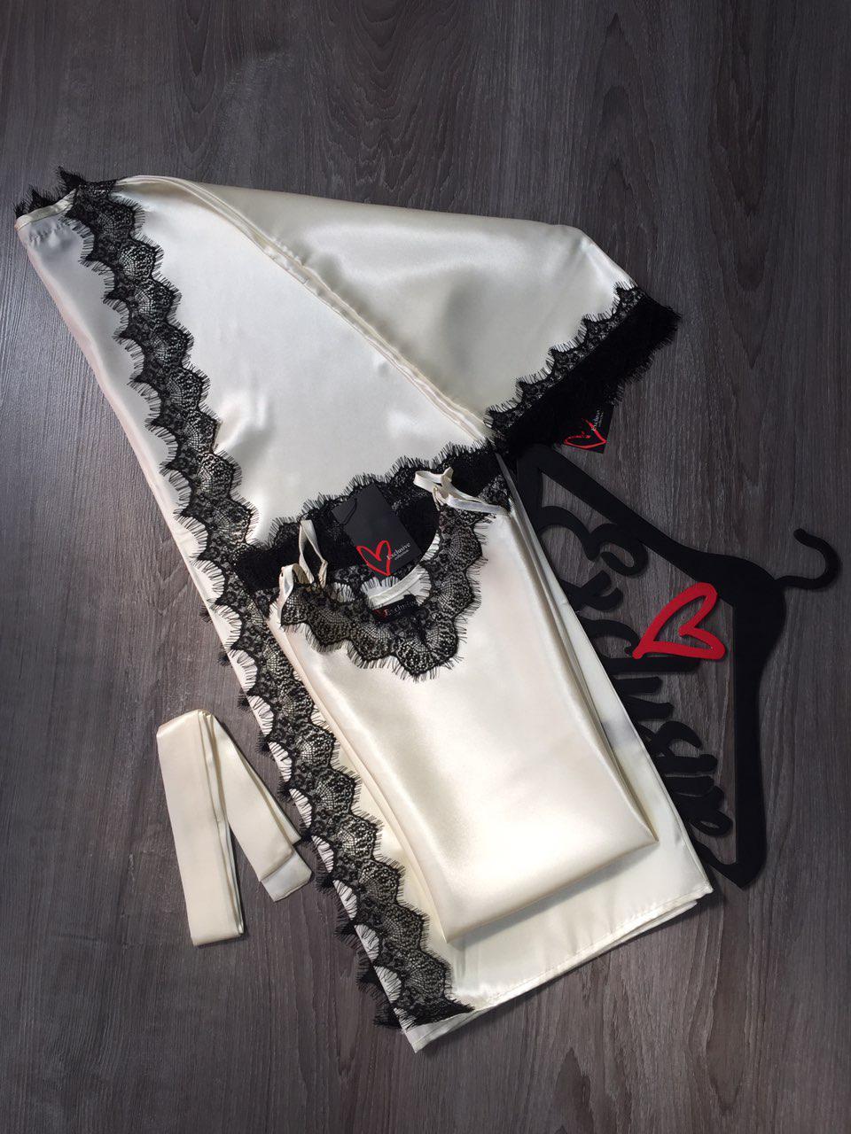 Нежный атласный комплект халат и пеньюар женский