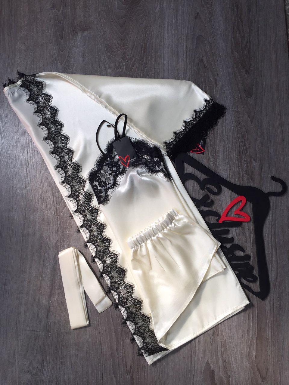 Комплект халат + майка +шорты женский атласный с кружевом