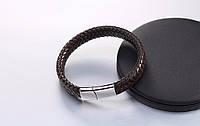 Кожаный плетеный браслет с магнитным замком, фото 1