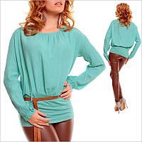 Женская кофта с поясом и длинным рукавом, кофта цвета морской волны
