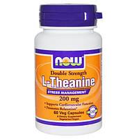 Теанин, Двойная сила, L-Theanine, Now Foods, 200 мг, 60 кап.