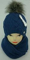 Шапка вязаная + шарф-хомут для девочки  на полном флисе зима, фото 1