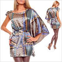 Женская туника на одно плечо с узором, новая колекция женской одежды
