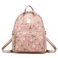 Рюкзак женский из экокожи с цветами (пудровый), фото 1