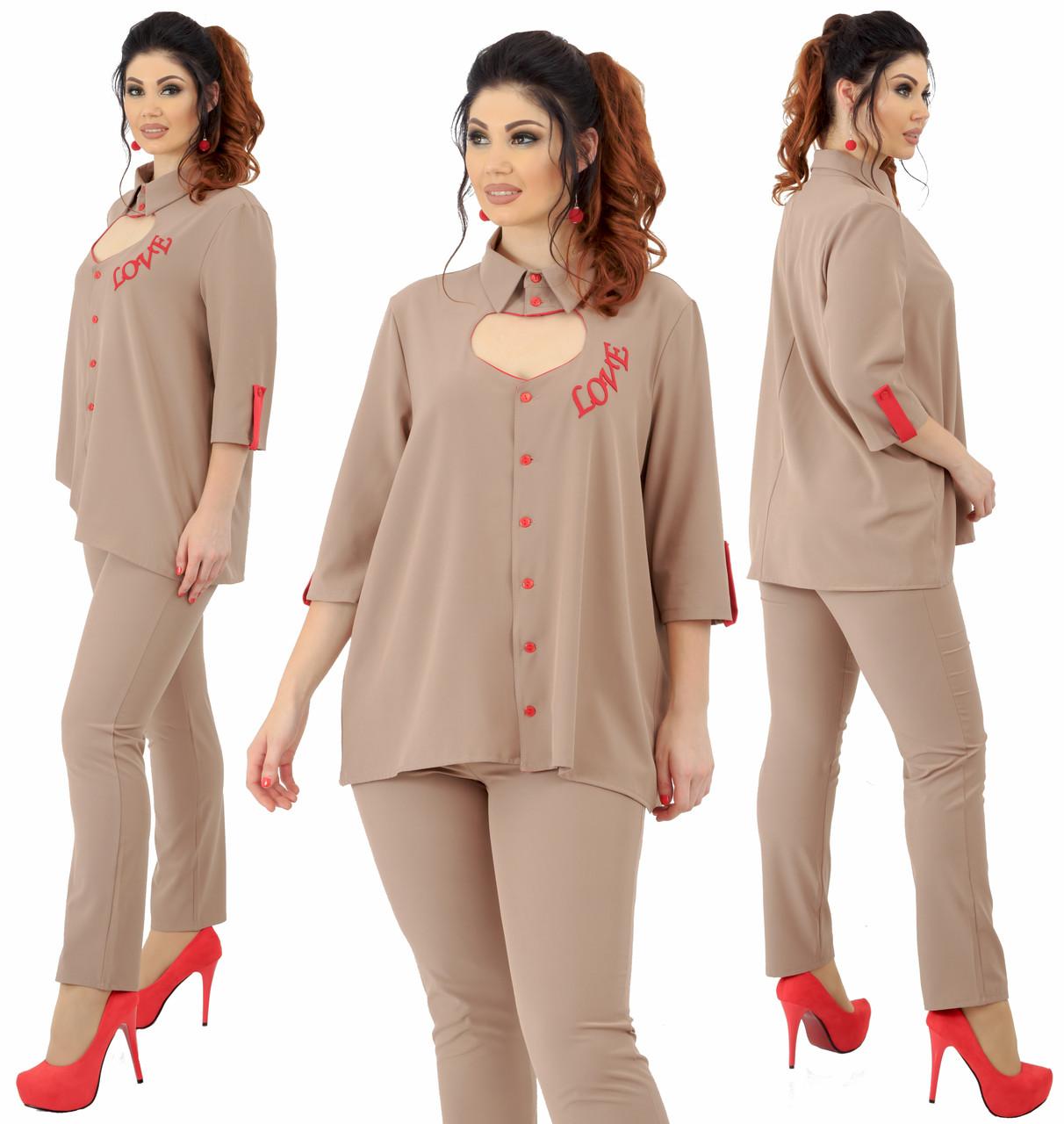 """Нарядный брючный костюм """"Комильфо"""" большие размеры от 48 до 54 блузка с сердцем и брюки    код 92/9027"""