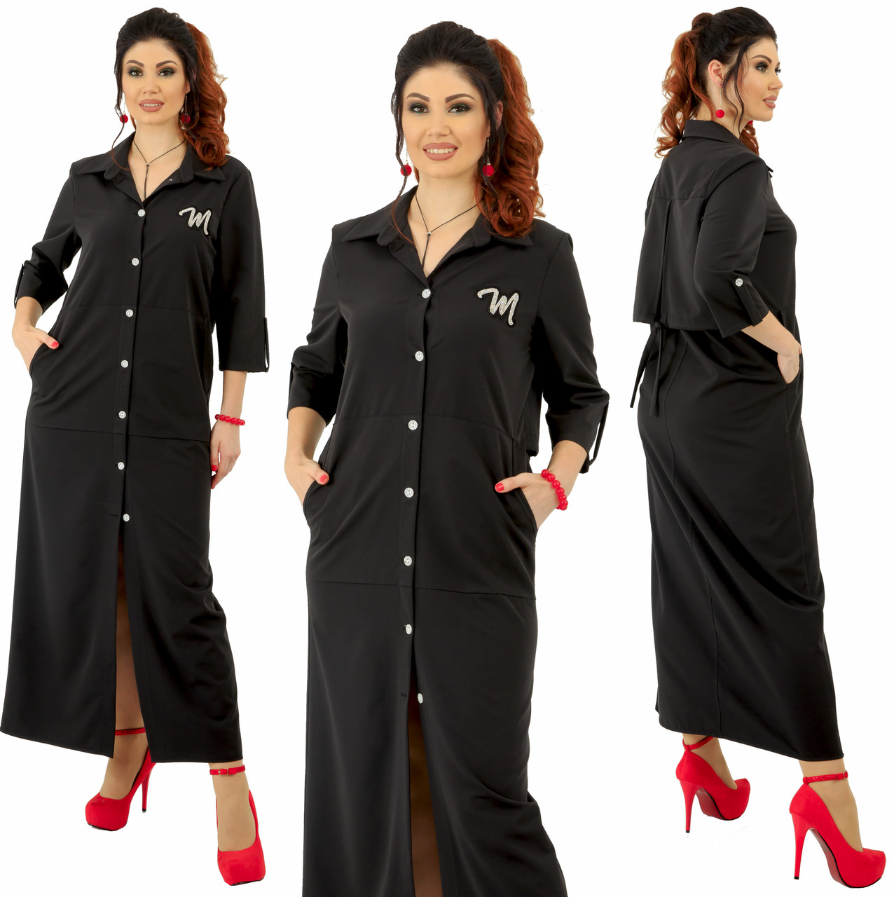 """Длинное платье рубашка  """"Руби"""" больших размеров от 48 до 54 с карманами, на  груди аппликация  код  92/89028"""