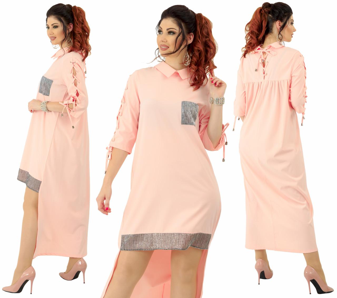 """Асимметричное платье  """"Барбарис""""больших размеров от 48 до 54 удлиненное сзади, украшено люрексом код  92/89032"""