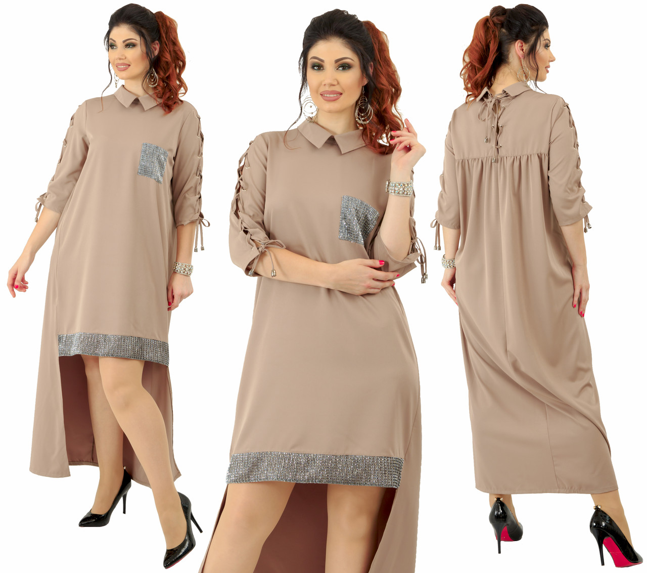 """Асимметричное платье  """"Барбарис""""больших размеров от 48 до 54 удлиненное сзади, украшено люрексом код  92/89033"""