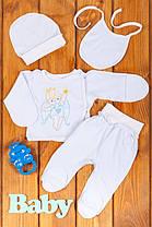 Комплект ясельный из 4 предметов Ангел  (ползуны, распашонка, чепчик , слюнявчик) с голубой вышивкой
