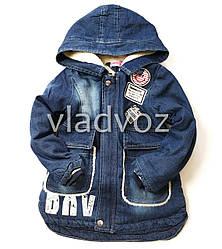 Детская джинсовая парка куртка для мальчика мех подкладка DNV 10-11 лет