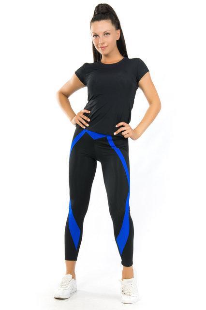 Комплект футболка и лосины для спорта (42-44; 44-46; 48-50) (синий) одежда для йоги и фитнеса из бифлекса