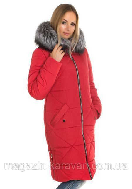 Модный  женский пуховик Лд 53 Красный чернобурка