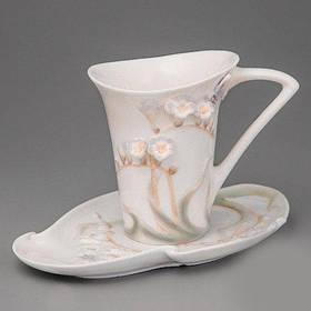 Статуэтка чашка, блюдце, ложка Veronese Бабочка в цветах 10 см (20158 YA)