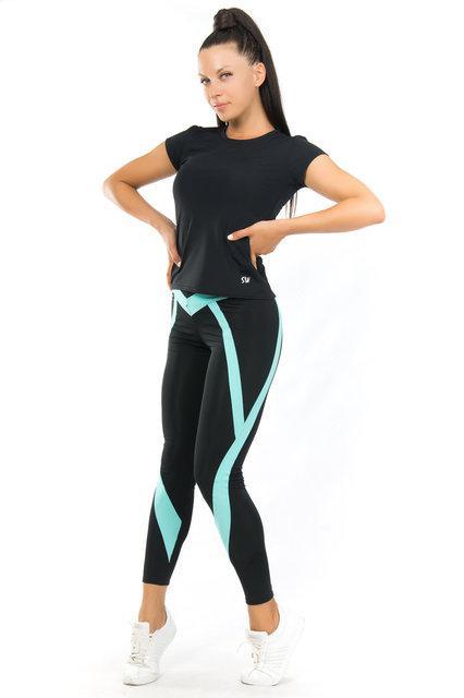 Комплект футболка и лосины для спорта (42-44; 44-46; 48-50) (мята) одежда для йоги и фитнеса из бифлекса