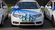 Икебана с цветами + Украшение на капот из синего фатина с пышным бантом (162)