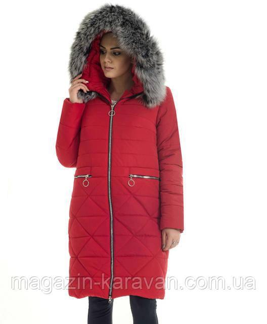 Модный  женский пуховик ЛД52 красный чбк