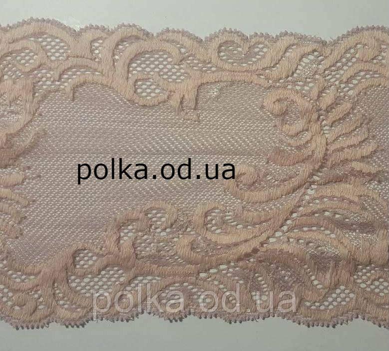 """Стрейчевое кружево пудровое """"перо"""", ширина 14.5см, цвет бежевый розовый (Италия)"""