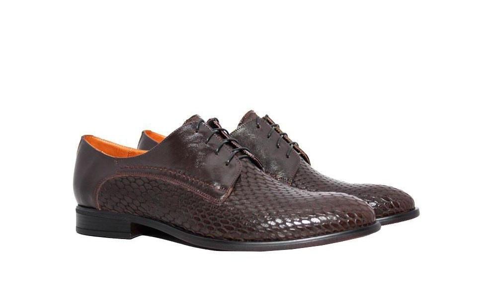Чоловічі туфлі ІКОС/IKOS з вставкою з крокодилової шкіри, взуття успішних чоловіків!