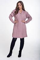 Кардиган женский вязаный с поясом цвет пудра, фото 1