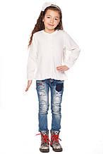 Нежная белаякофта прямого кроя из хлопковой пряжи для девочек 104-122р