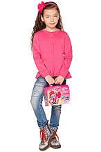 Яркая малиновая кофта из хлопковой пряжи для девочек 104-122р