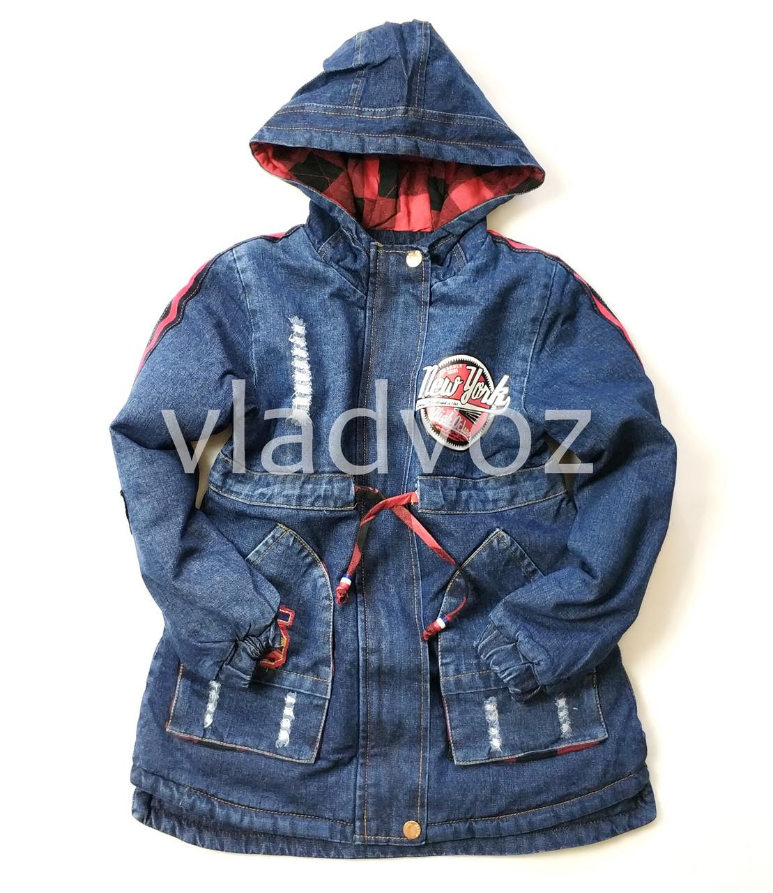 Детская джинсовая парка для девочки тёплая подкладка New York 9-10 лет