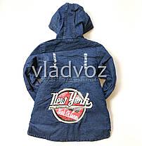 Детская джинсовая парка для девочки тёплая подкладка New York 9-10 лет, фото 2