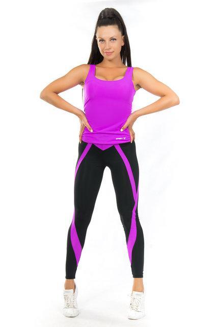 Набор майка и лосины для спорта (42-44; 44-46; 46-48) (фуксия) одежда для йоги и фитнеса из бифлекса